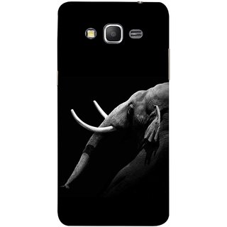 FUSON Designer Back Case Cover for Samsung Galaxy Grand Prime :: Samsung Galaxy Grand Prime Duos :: Samsung Galaxy Grand Prime G530F G530Fz G530Y G530H G530Fz/Ds (Close Up Portrait Of A Baby Elephant Long Ears Strips Forest)