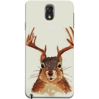 FUSON Designer Back Case Cover for Samsung Galaxy Note 3 :: Samsung Galaxy Note Iii :: Samsung Galaxy Note 3 N9002 :: Samsung Galaxy Note 3 N9000 N9005 (Jackrabbit Wolpertinger Hipster Vintage Jackalope Head)