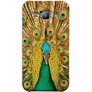 FUSON Designer Back Case Cover for Samsung Galaxy J1 (2015) :: Samsung Galaxy J1 4G (2015) :: Samsung Galaxy J1 4G Duos :: Samsung Galaxy J1 J100F J100Fn J100H J100H/Dd J100H/Ds J100M J100Mu (Nice Colourful Long Peacock Feathers Beak)
