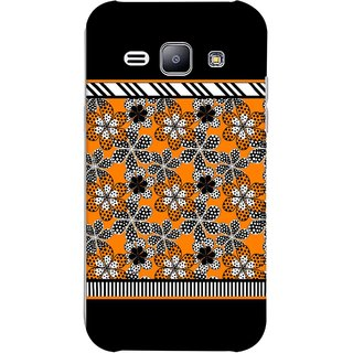 FUSON Designer Back Case Cover for Samsung Galaxy J1 (2015) :: Samsung Galaxy J1 4G (2015) :: Samsung Galaxy J1 4G Duos :: Samsung Galaxy J1 J100F J100Fn J100H J100H/Dd J100H/Ds J100M J100Mu (White Gray Yellow White Black Flowers Unstitched)