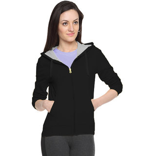FUEGO Black Hooded Sweatshirt For Women