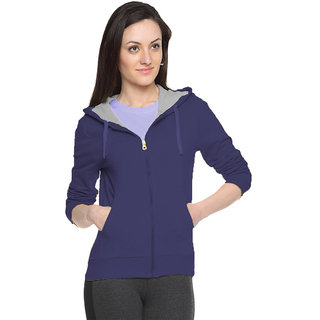 FUEGO Blue Hooded Sweatshirt For Women