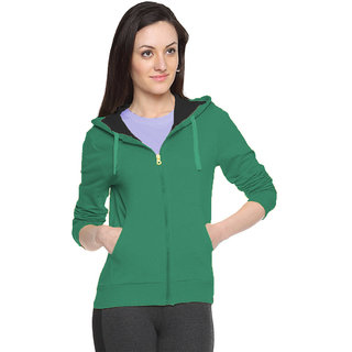 FUEGO Green Hooded Sweatshirt For Women
