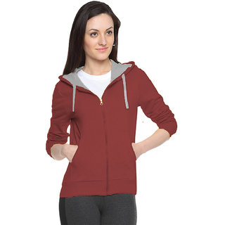 FUEGO Maroon Hooded Sweatshirt For Women
