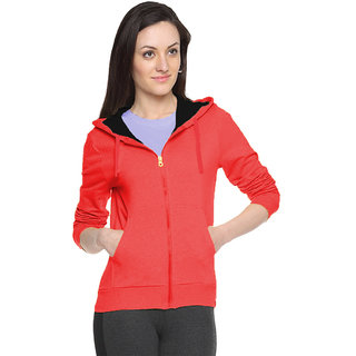 FUEGO Red Hooded Sweatshirt For Women