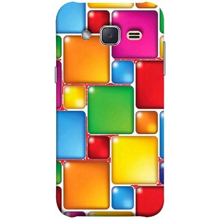 FUSON Designer Back Case Cover for Samsung Galaxy J2 J200G (2015) :: Samsung Galaxy J2 Duos (2015) :: Samsung Galaxy J2 J200F J200Y J200H J200Gu  (Glossy Mat Squares Small Honey Purple Red )