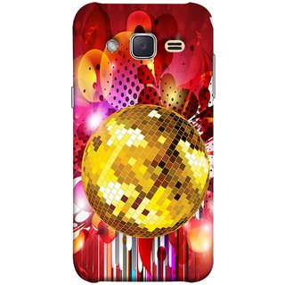 FUSON Designer Back Case Cover for Samsung Galaxy J2 J200G (2015) :: Samsung Galaxy J2 Duos (2015) :: Samsung Galaxy J2 J200F J200Y J200H J200Gu  (Music Disco Party Poster Red Shiny Abstract Party Design)