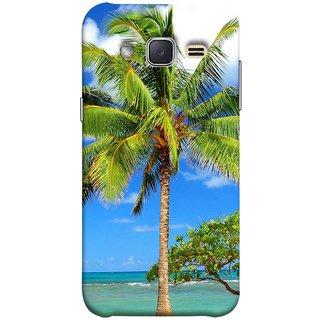 FUSON Designer Back Case Cover for Samsung Galaxy J2 J200G (2015) :: Samsung Galaxy J2 Duos (2015) :: Samsung Galaxy J2 J200F J200Y J200H J200Gu  (Palmtrees At The Beach Sea Blue Sky New Horizons )