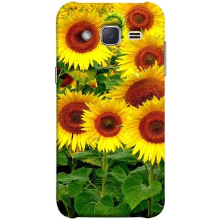 FUSON Designer Back Case Cover for Samsung Galaxy J2 J200G (2015) :: Samsung Galaxy J2 Duos (2015) :: Samsung Galaxy J2 J200F J200Y J200H J200Gu  (Field Of Bright Happy Sunflowers Outside Oil Food)