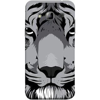 FUSON Designer Back Case Cover for Samsung Galaxy J3 (6) 2016 :: Samsung Galaxy J3 2016 Duos :: Samsung Galaxy J3 2016 J320F J320A J320P J3109 J320M J320Y  (Grey Tiger Looking Into Eyes Whiskers Chitta)