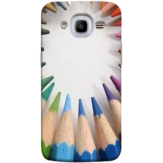 FUSON Designer Back Case Cover for Samsung Galaxy J2 (6) 2016  J210F :: Samsung Galaxy J2 Pro (2016) (Color Circle Bunch Of Pencil Boys Girls Childrens School)