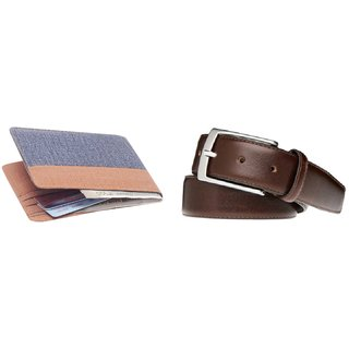 Unique Collections Brown & Blue Denim Bi-fold Wallet + Brown Belt Combo (Dw-035)