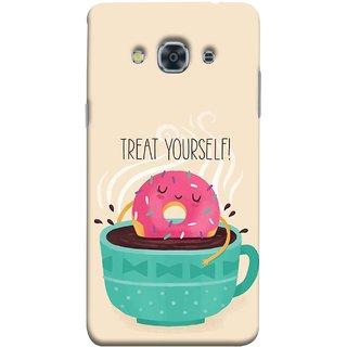FUSON Designer Back Case Cover for Samsung Galaxy J3 Pro :: Samsung Galaxy J3 (2017) (Donut Strawberry Flavor Sinking In Hot Chocolate)