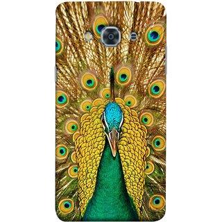FUSON Designer Back Case Cover for Samsung Galaxy J3 Pro :: Samsung Galaxy J3 (2017) (Nice Colourful Long Peacock Feathers Beak)