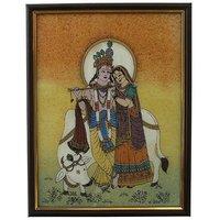 Divine Lovers Radha Krishna Gemstone Painting