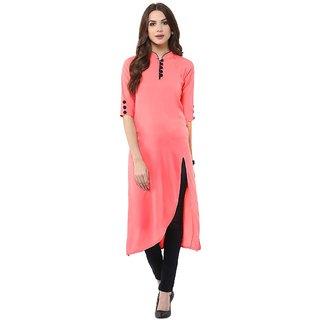 Janasya Women's Pink Indo Western Crepe Kurti