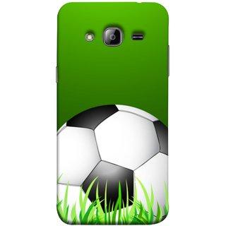FUSON Designer Back Case Cover for Samsung Galaxy J5 (2015) :: Samsung Galaxy J5 Duos (2015 Model)  :: Samsung Galaxy J5 J500F :: Samsung Galaxy J5 J500Fn J500G J500Y J500M  (Football Green Ground Ball Black White Fifa League )