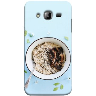 FUSON Designer Back Case Cover for Samsung Galaxy J5 (2015) :: Samsung Galaxy J5 Duos (2015 Model)  :: Samsung Galaxy J5 J500F :: Samsung Galaxy J5 J500Fn J500G J500Y J500M  (Bowl Of Breakfast Cereal With Milk And Spoon)