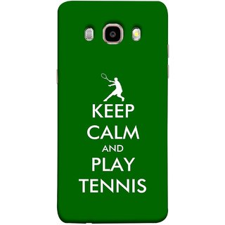 FUSON Designer Back Case Cover for Samsung Galaxy J5 (6) 2016 :: Samsung Galaxy J5 2016 J510F :: Samsung Galaxy J5 2016 J510Fn J510G J510Y J510M :: Samsung Galaxy J5 Duos 2016 (Tennis Player Logo Keep Silent And Cool Game On)