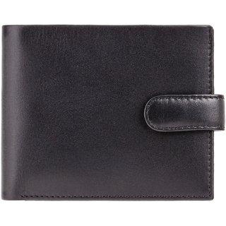 Visconti Vincent Bi-Fold Black & Cobalt Genuine Leather Men's Wallet With RFID