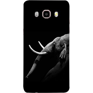FUSON Designer Back Case Cover for Samsung Galaxy J5 (6) 2016 :: Samsung Galaxy J5 2016 J510F :: Samsung Galaxy J5 2016 J510Fn J510G J510Y J510M :: Samsung Galaxy J5 Duos 2016 (Close Up Portrait Of A Baby Elephant Long Ears Strips Forest)
