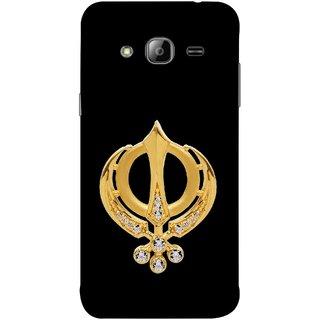 FUSON Designer Back Case Cover for Samsung Galaxy J7 J700F (2015) :: Samsung Galaxy J7 Duos (Old Model) :: Samsung Galaxy J7 J700M J700H  (Khalsa Khanda Guru Nanak Sikh Pendant Diamonds)