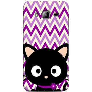 FUSON Designer Back Case Cover for Samsung Galaxy J7 J700F (2015) :: Samsung Galaxy J7 Duos (Old Model) :: Samsung Galaxy J7 J700M J700H  (Cat Mau Pillu Blackcat Purple Waves Triangle )