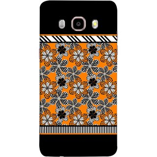 FUSON Designer Back Case Cover for Samsung Galaxy J7 (6) 2016 :: Samsung Galaxy J7 2016 Duos :: Samsung Galaxy J7 2016 J710F J710Fn J710M J710H  (White Gray Yellow White Black Flowers Unstitched)