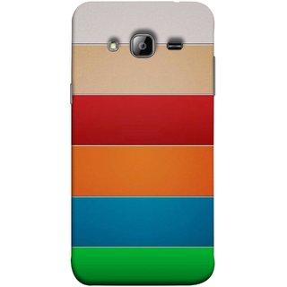 FUSON Designer Back Case Cover for Samsung Galaxy J7 J700F (2015) :: Samsung Galaxy J7 Duos (Old Model) :: Samsung Galaxy J7 J700M J700H  (Rainbow Colours Bright Bands Red Orange Blue)
