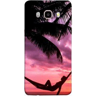 FUSON Designer Back Case Cover for Samsung Galaxy J7 (6) 2016 :: Samsung Galaxy J7 2016 Duos :: Samsung Galaxy J7 2016 J710F J710Fn J710M J710H  (Sunset Beach Hammock Chillout Wallpapers Palmtrees)