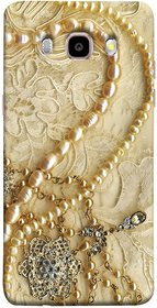 FUSON Designer Back Case Cover for Samsung Galaxy J7 (6) 2016 :: Samsung Galaxy J7 2016 Duos :: Samsung Galaxy J7 2016 J710F J710Fn J710M J710H  (Perals Diamonds Pendent Gold Hand Embroidery Stitches)