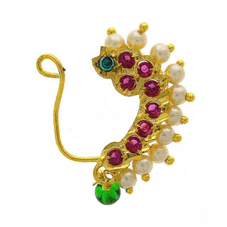 Anuradha Art Golden Finish Styled With Pink Colour Stone Simple Stylish Maharashtrian Nath Nose Ring For Women/Girls