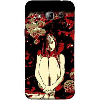 FUSON Designer Back Case Cover for Samsung Galaxy J7 J700F (2015) :: Samsung Galaxy J7 Duos (Old Model) :: Samsung Galaxy J7 J700M J700H  (Photo Upset Sitting In Garden Hands Together Pub Thinking)