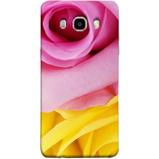 FUSON Designer Back Case Cover for Samsung Galaxy J7 (6) 2016 :: Samsung Galaxy J7 2016 Duos :: Samsung Galaxy J7 2016 J710F J710Fn J710M J710H  (Pink Red Baby Yellow Shades Friendship Flowers Roses)