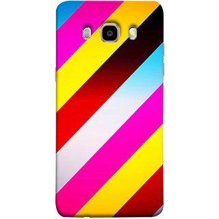 FUSON Designer Back Case Cover for Samsung Galaxy J7 (6) 2016 :: Samsung Galaxy J7 2016 Duos :: Samsung Galaxy J7 2016 J710F J710Fn J710M J710H  (Gliding Striped Fabric Floral Patterns Shining Dark Patterns)