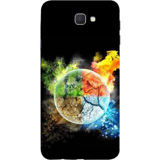 FUSON Designer Back Case Cover for Samsung Galaxy J7 Prime (2016) (Greenery Whole Circle Earth Cracks Blue Ice)
