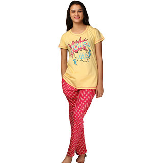 De'Moda Women's Pink & Yellow Night Suit