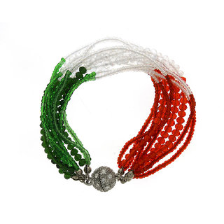 Anuradha Art Tri-Colour Crystal Beads Woven Bracelet With Magnectic Lock For Girls/Women