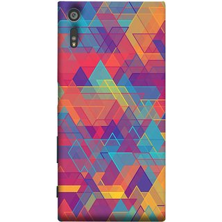 FUSON Designer Back Case Cover for Sony Xperia XR (Geometric Watercolour Art Print Pink Bright)