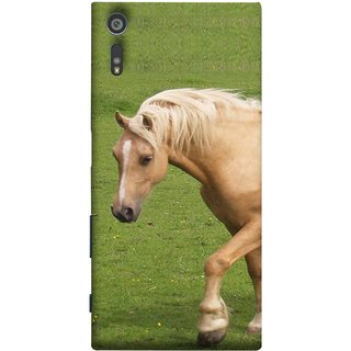 FUSON Designer Back Case Cover for Sony Xperia XR (White Horse In The Park On The Green Grass)