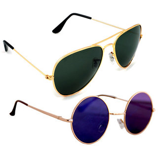 6a37dd4a6df Combo Of Sunglasses With Green Aviator And Vintage Gandhi Style In Multi  Shade
