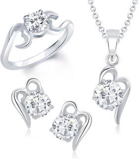 VK Jewels Limelight Drop Solitaire Combo Ring & Pendant Set -VKCOMBO1010R