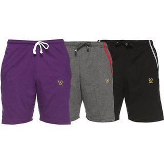 Vimal-Jonney Multicolor Cotton Shorts For Men(Pack Of 3)
