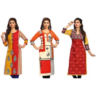 Jevi Prints - Pack of 3 Unstitched Women's Cotton Printed Kurti Fabrics (Fabrics Only for Top)