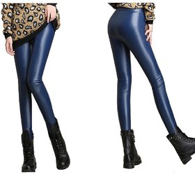 Timbre PU Leather Coated Leggings Party Wear Leggings Blue