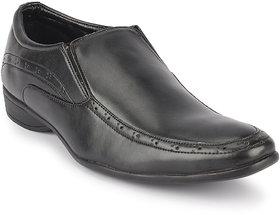 Quarks Men's Black Synthetic Slip On Formal Shoes