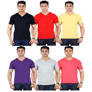 Diaz Multi V-Neck T-Shirt Pack Of 6