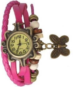 Round Dial Pink Leather Strap Womens Quartz Watch By MO