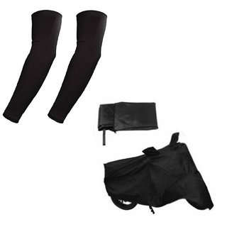 HMS Bike body cover with Sunlight protection for Bajaj Pulsar AS 150 + Free Arm Sleeves - Colour Black