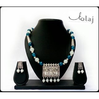 German silver pendant and glass beads handmade jewellery